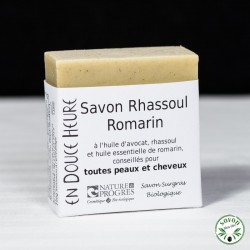 Savon Rhassoul Romarin certifié bio par Nature & Progrès - 100g