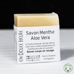 Savon Menthe Aloe Vera certifié bio par Nature & Progrès - 100g