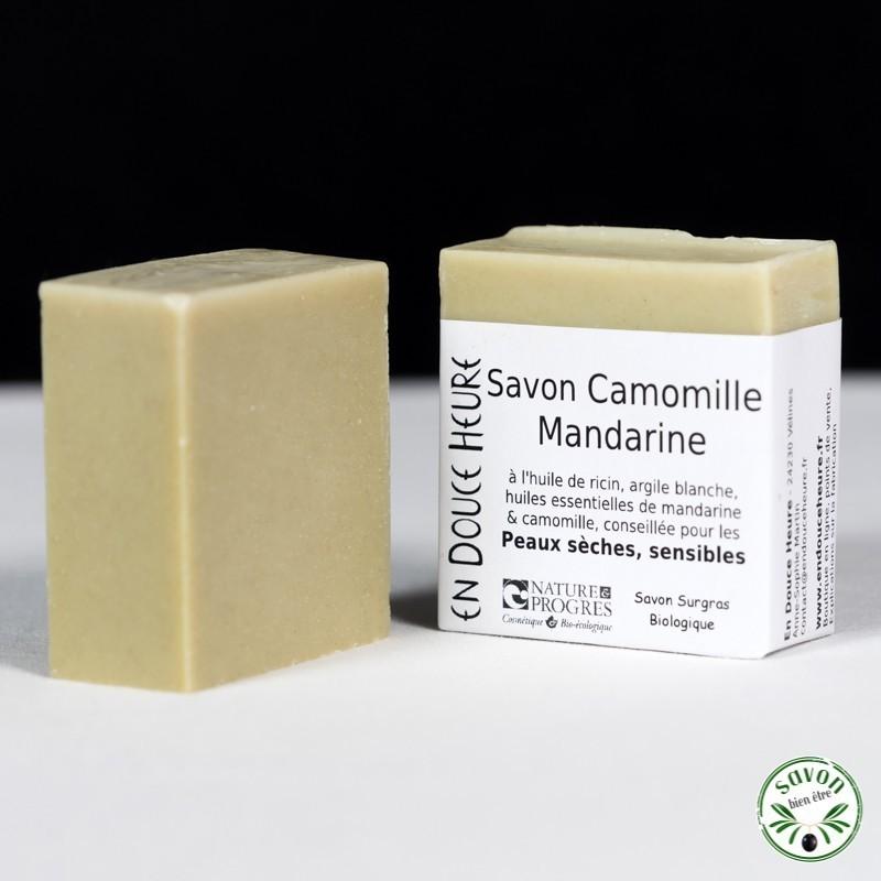 Savon Camomille Mandarine certifié bio par Nature & Progrès - 100g